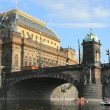 Prague, National Theatre and bridge Lehii — Foto Stock #25509249