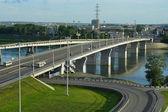 Kemerovo, bridge over the river Tom — Stock Photo