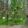 Kemerovo, feeders and houses for birds in the Park — Stock Photo