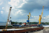 Cargo port in the town of Vyborg — Stock Photo