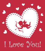 Valentine cupid with bow on the heart background — Vettoriale Stock