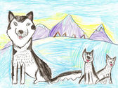 Husky dog. Kid drawing. — Photo