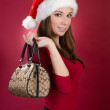 Santa Woman holding bag — Stock Photo