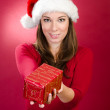 Woman with santa hat giving a christmas gift box — Stock Photo