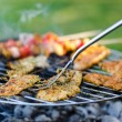 Foto Stock: Grilled meat and vegetables