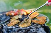 Verduras y carnes a la brasa — Foto de Stock