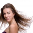 Close up of woman with flying hair — Stock Photo