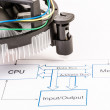Stock Photo: Electronic Circuit Diagram with CPU cooler