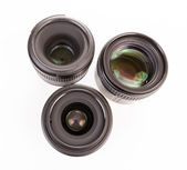 Three camera lenses — 图库照片