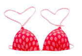 Red bikini top with heart shape — Stok fotoğraf