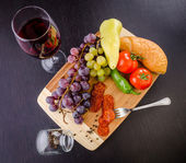 Fruit, Vegetables and Wine — Stock Photo