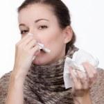 Woman with handkerchief — Stock Photo