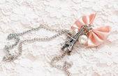 Necklace with eiffel tower — Stock Photo