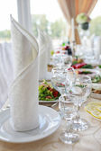 Tables set for wedding — Stock Photo