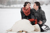 Happy bride and groom in winter day — Stok fotoğraf