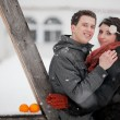 Happy bride and groom in winter day — Lizenzfreies Foto