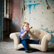 Adorable baby in the chair — Stockfoto