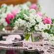 Flowers - tables set for wedding — ストック写真