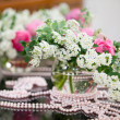 Flowers - tables set for wedding — Stockfoto