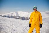 Snowboarder contra sol y cielo — Foto de Stock