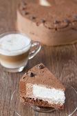 Pedazo de pastel de chocolate triple — Foto de Stock