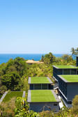 Seaview from above, tropical coast with hotel — Стоковое фото