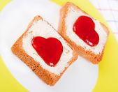 Hearts on toast — Foto de Stock