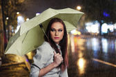 Beauiful girl in the rain — 图库照片