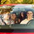 Friends in car going on picnic — Stock Photo #41168717