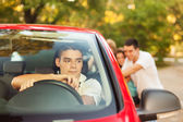 Friends in car going on picnic — Stock Photo