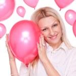 Palloncini e bella bionda — Foto Stock