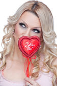 """Blonde with """"I Love You"""" heart — Stock Photo"""