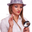 Pretty female detective — Stock Photo