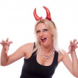 Stock Photo: Blonde with red horns