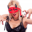 Stock Photo: Blonde with devil mask