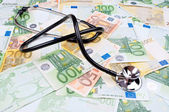 Stethoscope and Euro money — Foto de Stock