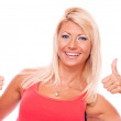 Blonde showing thumbs up — Stock Photo #28829287