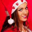 Young female Santa — Stock Photo