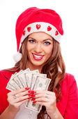 Female Santa with cash — Stock Photo