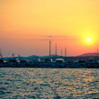 Sunset over the marine — Stock Photo