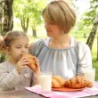 Mother and daughter family breakfast in nature — Stock Video #12739911