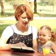 Mother and daughter reading a book — Stock Video #12740040