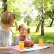 Mother and daughter eat and drink in park — Stock Video