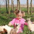 Child and two little goats — Stok video