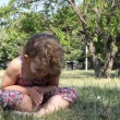 Little girl yoga meditation — Vídeo Stock