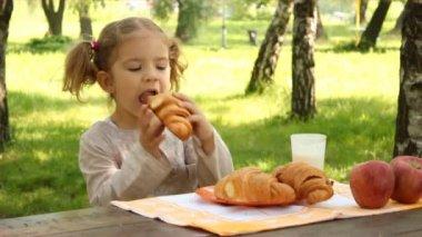 Little girl breakfast in nature — Stock Video