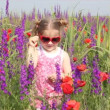 Stock Video: Little girl standing in colorful meadow