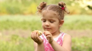 Young girl holding little chicken — Vídeo de stock