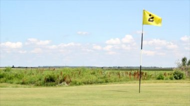 Golf field with yellow flag number two — Stock Video