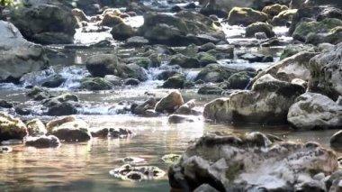Fluxo com cena de natureza de pedras — Vídeo Stock
